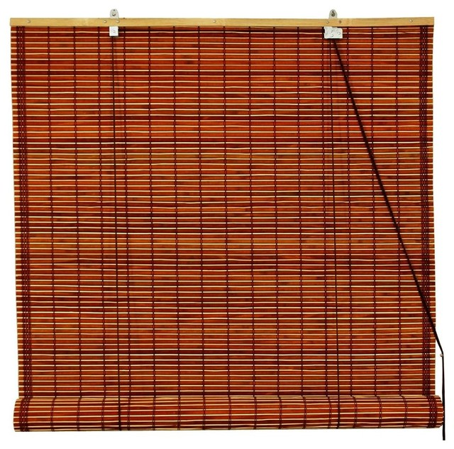 Burnt Bamboo Roll Up Blinds in Brown (24 in. contemporary-roller-blinds