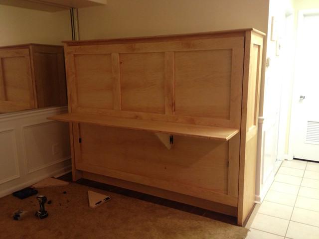 Horizontal Folding Beds : Horizontal double w fold down desk maple wood
