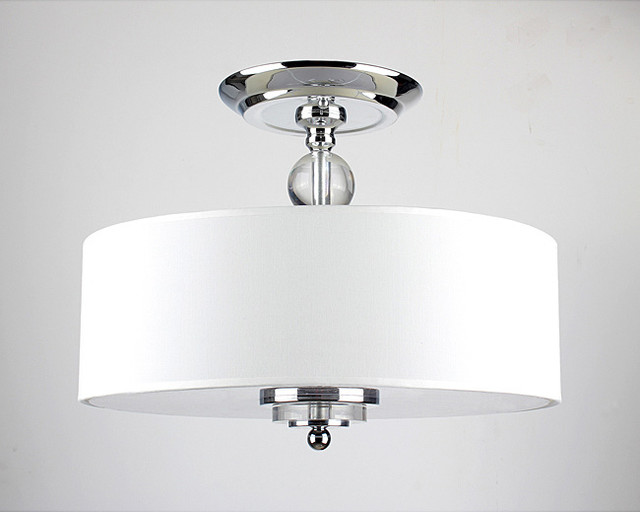 Crystal decorated off white shade flushmount ceiling - Crystal light fixtures for bathroom ...