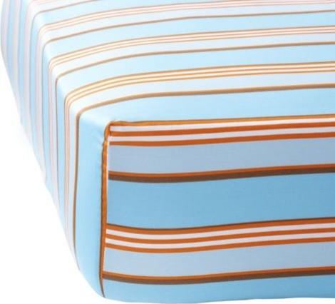Aqua/Orange Club Stripe Designer Crib Sheet traditional-baby-bedding
