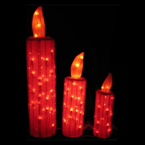 3 piece tinsel fabric candles contemporary outdoor for Large outdoor christmas candles