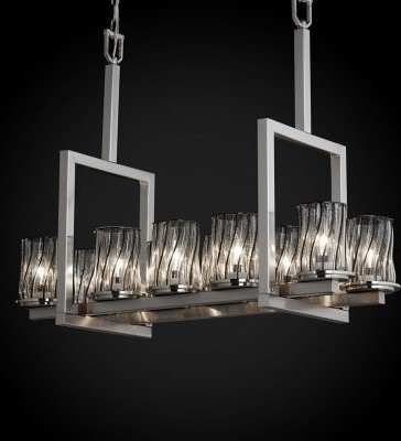 Justice Design Group Wire Glass WGL-8757-10-SWCB-NCKL Dakota 10-Light Bridge Cha modern chandeliers