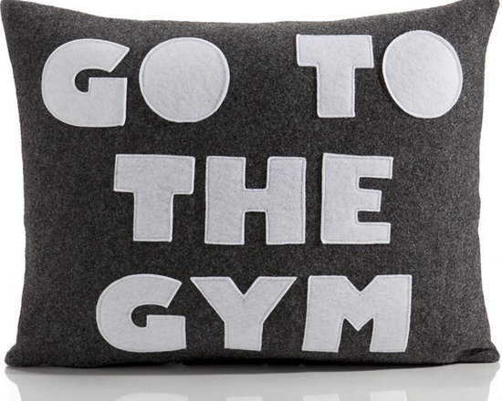 Alexandra Ferguson - Alexandra Ferguson Go To The Gym Pillow-Charcoal/White - Recycled polyester fill insert included. The felt that I use is made from 100 percent post consumer recycled water bottles. So, you drink water, throw the empty bottle in the recycling bin. Then they are melted down and turned them into this beautiful, really high quality soft felt that I then use to make pillows. All pillows have a nylon zipper closure, with the alexandra ferguson logo embroidered on the center back bottom. Fabric content: Hemp & organic cotton canvas 100% organic cotton canvas Felt is made out of 100% post consumer recycled water bottles