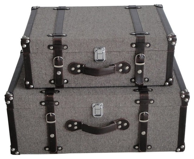MANDALAY TWEED SUITCASES modern-decorative-trunks