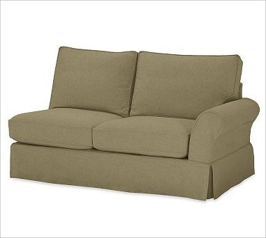 PB Comfort Roll-Arm Right Love Seat Slipcovers, Velvet Sage traditional-living-room-chairs