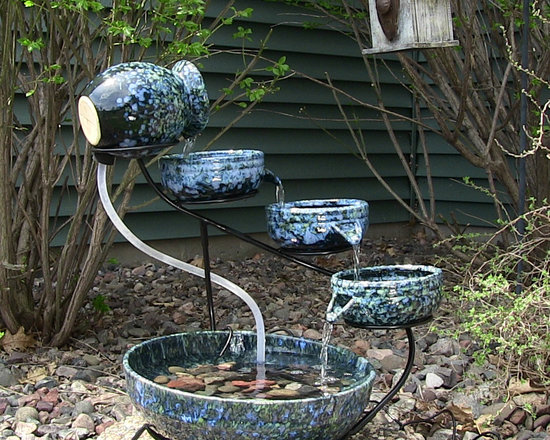 Outdoor Classics Decorative Blue Ceramic Cascade Solar Fountain -