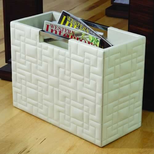 Quilted Ivory Leather Magazine Holder traditional magazine racks