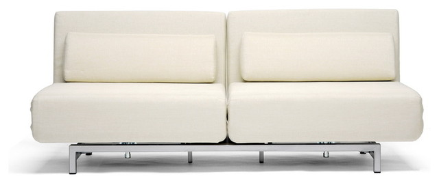 Baxton Studio Cream Fabric 2 Seat Sofa Chair Convertible Set modern-day-beds-and-chaises