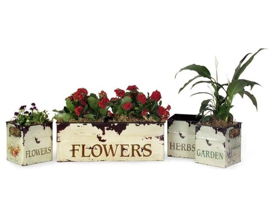"""IMAX CORPORATION - Tin Flower Planters - Set of 4 - Tin Flower Planters. Set of 4 planters in varying sizes measuring approximately 7-7.25""""H x 5.75-19""""W x 5.75-7"""" each. Shop home furnishings, decor, and accessories from Posh Urban Furnishings. Beautiful, stylish furniture and decor that will brighten your home instantly. Shop modern, traditional, vintage, and world designs."""