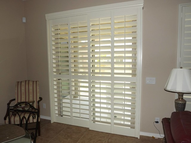 Plantation Shutters on sliding glass doors - Traditional - phoenix - by The Louver Shop