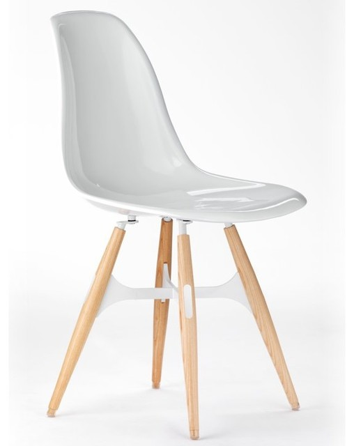 ZigZag Chair, White, Dark Grey Seat Pad, White Metal Cross contemporary-living-room-chairs