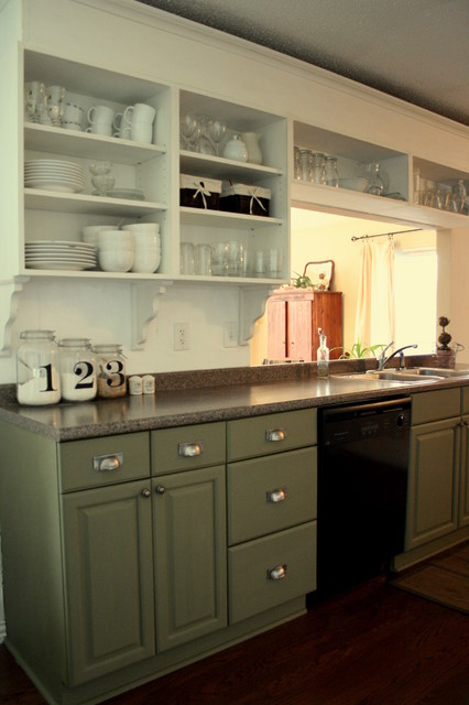 White & Green Cottage Kitchen traditional kitchen