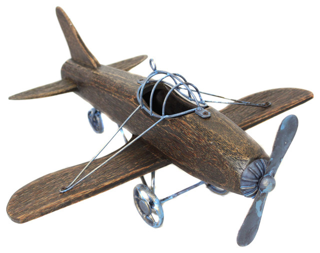 urban designs wooden model toy replica handcrafted large retro blue plane airplane aircraft model home decor