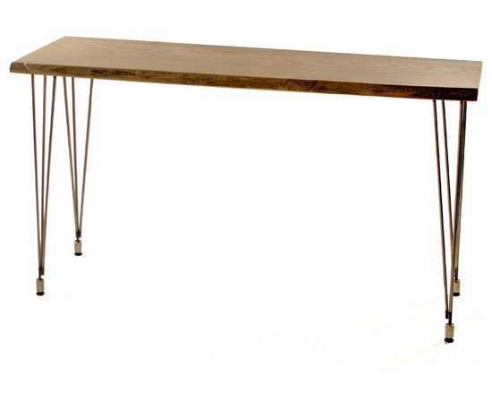 """TruCraft Furniture - Natural live edge solid ash Sofa/Hall table - Mid Century Modern inspired, this Sofa/Hall Table is made from one solid piece of locally harvested (Chicagoland) reclaimed urban 6/4 Ash (15-16"""" wide and 52"""" long), features a natural live edge and is stained with a light gray (best seen in the second picture) dye stain to add an aged look."""