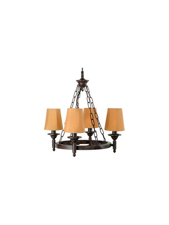 """Royce Lighting - Saltillo 4 Light Chandelier with Cognac Finish - Portable for outdoor and indoor use. UL approved for outdoor usage. 180"""" feet wire length. Orchre shades made of weather resistance with Cognac Finish."""