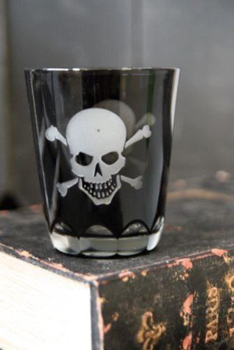Skull Crossbones Glass Tumbler eclectic-everyday-glasses