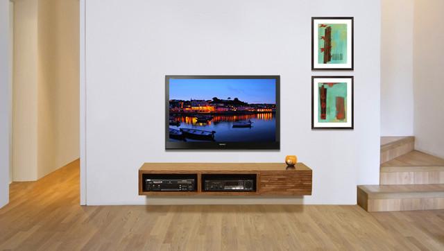 Floating Wall Mounted TV Console - Mayan Mocha