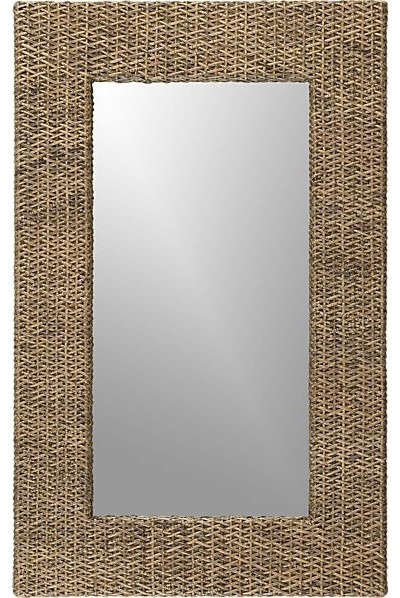Woven Rattan Wall Mirror contemporary-wall-mirrors