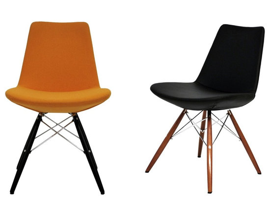 """Eiffel MW Chair by sohoConcept - Eiffel Wood is a unique dining chair with a comfortable upholstered seat and backrest on wooden dowel legs. Each leg is tipped with a plastic glide screwed into the foot. The seat has a steel structure with """"S"""" shape springs for extra flexibility and strength. This steel frame molded by injecting polyurethane foam. Eiffel seat is upholstered with a removable Velcro, enclosed leather, PPM or wool fabric slip cover. The chair is suitable for both residential and commercial use."""