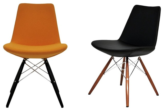 Eiffel Wood Chair by sohoConcept - Orange Leatherette & Black