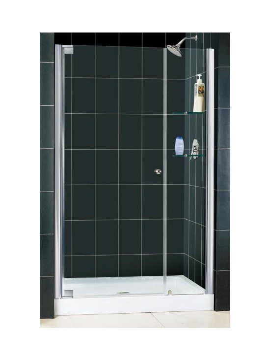 "DreamLine Elegance 42"" - 44"" Pivot Shower Door With 12"" Stationary Panel SHDR-41 - The ELEGANCE pivot shower door combines a modern frameless glass design with premium 3/8"" thick tempered glass for a high end look at an excellent value. The collection is extremely versatile, with options to fit a wide range of width openings from 25 1/4"" up to 61 3/4"". Smart wall profiles make for an easy and adjustable installation for a perfect fit. Elegance model available with an option of handle or a knob"