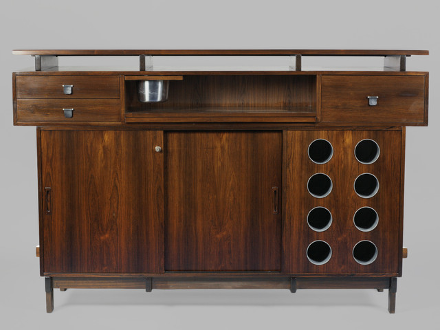 Midcentury Free Standing Bar with Laminate Top, Liquor Storage from ...