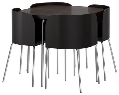 Fusion Table And 4 Chairs Brown Black Chrome