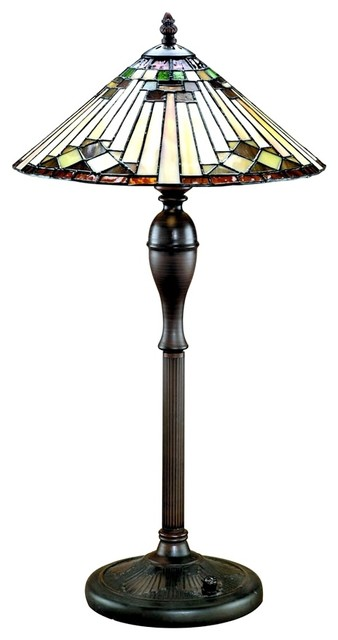 Arts and Crafts - Mission Lite Source Round Base Tiffany Table Lamp traditional-table-lamps