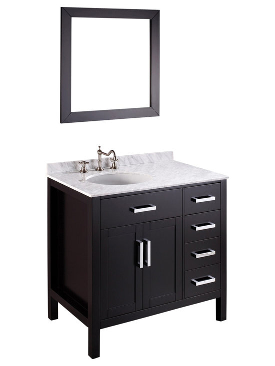 Bosconi - 36'' Bosconi SB-2105 Vanity Set - Four soft closing drawers and a single cabinet provide you with various options for storing a multitude of items in this Bosconi Contemporary Single Vanity. If you are looking for a contemporary work of art, then look no further. The stunning appearance stands out in the bathroom quarters and the White Carrara Marble makes it easy to find what you need. The matching mounted wall mirror enhances the appeal of the vanity while completing its form.