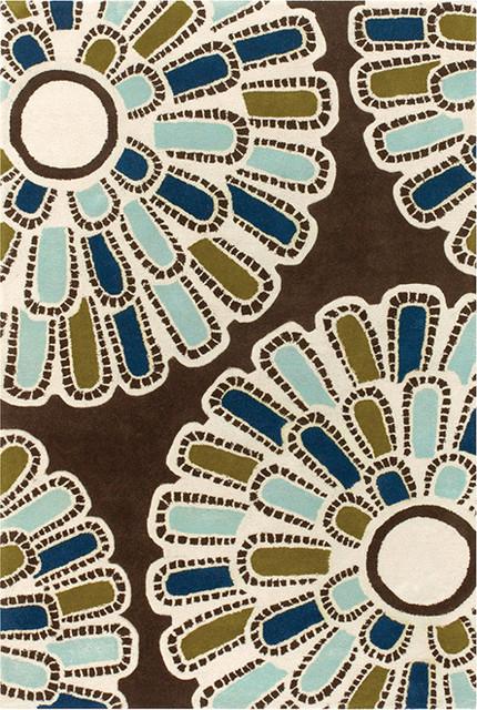 Thomaspaul - Flora Wool Pile Rug Aqua contemporary-rugs