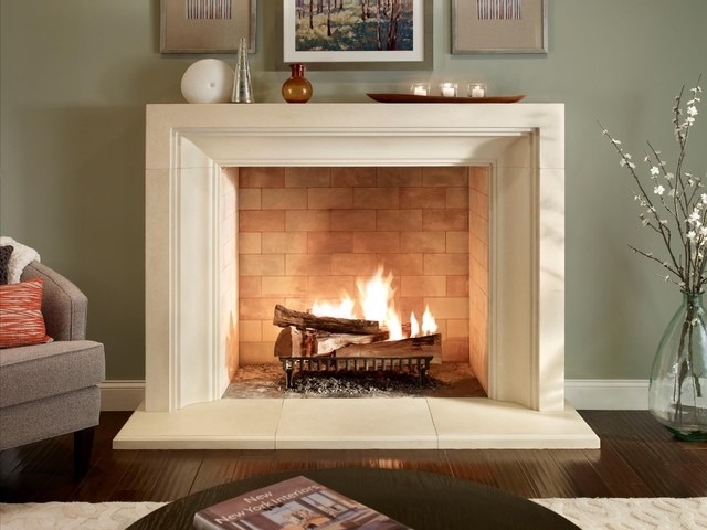 Eldorado stone mantels modern fireplace accessories boston by showroom partners - Large contemporary stone fireplace ...