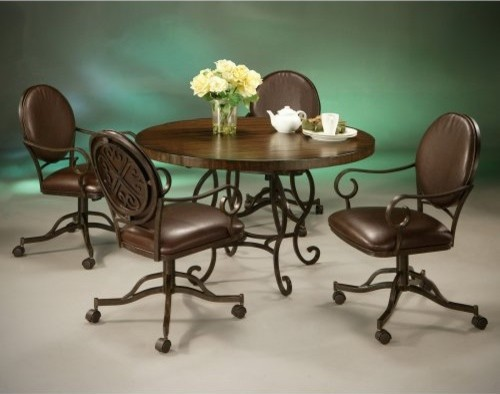 Pastel Audra 5 pc. Wood Top Dining Table Set with Caster Chairs traditional-dining-tables