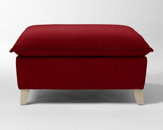 Bliss Down-Filled Ottoman, Cardinal Marled Microfiber -