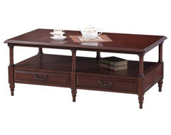 The Leick 10804 Claridge Cherry 6 Leg Coffee Table is made durable with its hard traditional coffee tables