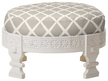 White Chakki traditional-footstools-and-ottomans