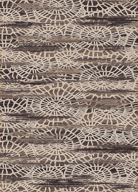 "Contemporary Treasure 5'3""x7'7"" Rectangle Cream Area Rug contemporary-area-rugs"