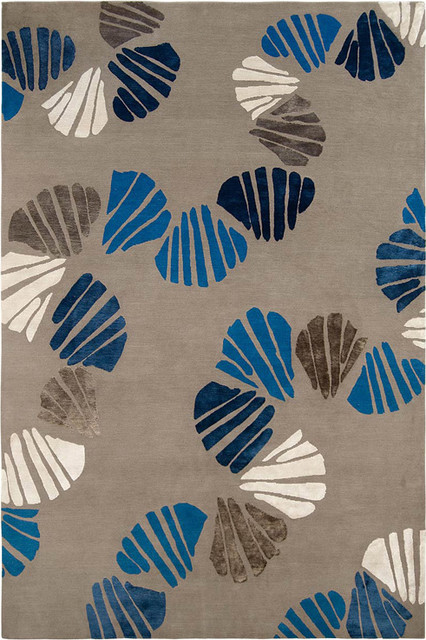 Judy Ross Textiles - Shells 6x9 Hand Knotted Rug Pewter modern-rugs