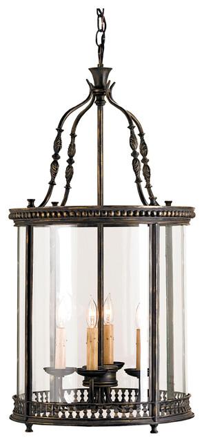 Gardner Vintage Glass Panels French Black 4 Light Lantern Pendant transitional-pendant-lighting