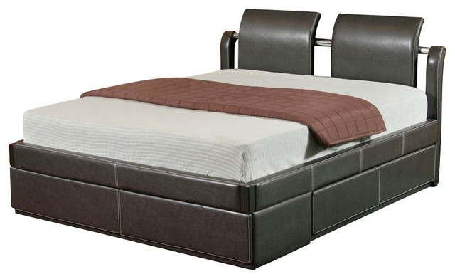 Homelegance storey upholstered platform bed with drawer for Upholstered bed with drawers