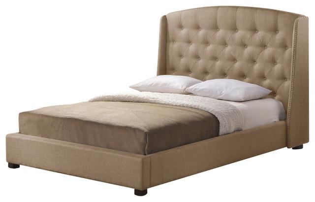 Baxton Studio Ipswich Dark Beige Linen Modern Platform Bed - King Size transitional-platform-beds
