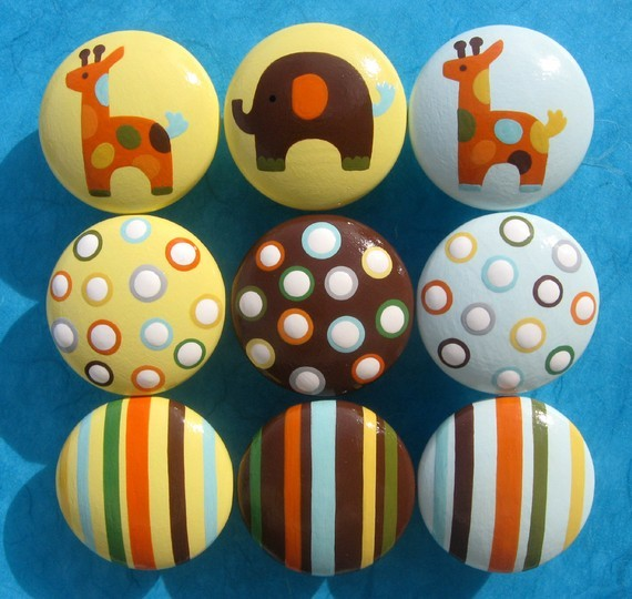 Hand-Painted Drawer Knobs, Animals, Stripes and Polka Dots by Sweet ...