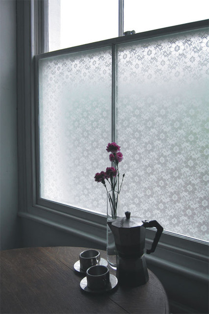 Emma Jeffs White Flower and Lace Adhesive Film modern-window-treatments