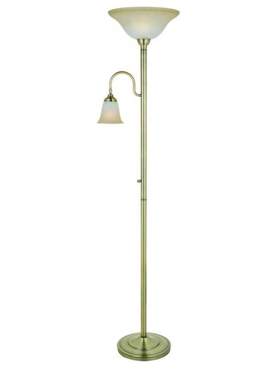 Joshua Marshal - Brass Thiago 1 Light Torchiere Lamp - Finish: Antique Brass
