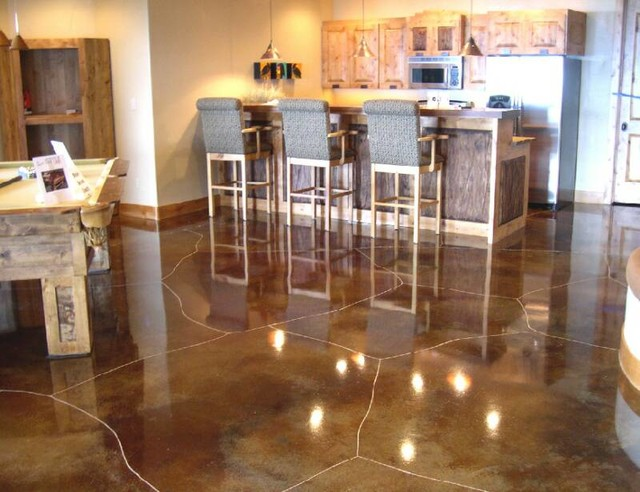 Concrete Staining, Scoring and Engraving - Rustic - Basement - salt lake city - by Ky-Kan Coatings