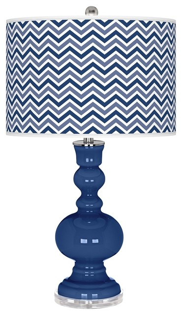 Contemporary Monaco Blue Narrow Zig Zag Apothecary Table Lamp contemporary-table-lamps