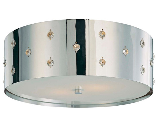 """George Kovacs - George Kovacs Bling Bling 14"""" Wide Flushmount Ceiling Light - Create sparkle and shine with this Bling Bling Collection flushmount ceiling light from George Kovacs. Features a chrome finish with perforated steel and crystal embedded within. Inside etched glass diffuser ensures warm even lighting. Takes two 60 watt bulbs (not included). 5"""" high. 14"""" wide.  Chrome finish.  Perforated steel shade.  Crystal accents.  A George Kovacs lighting design.  Inside etched glass diffuser.  Takes two 60 watt bulbs (not included).   5"""" high.   14"""" wide."""