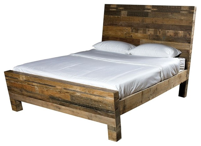 Queen Bed Frame Early Settler: Angora Reclaimed Wood Platform Bed