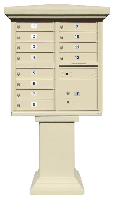 Parkview Stucco Tall Pedestal Wrap, Painted modern-mailboxes