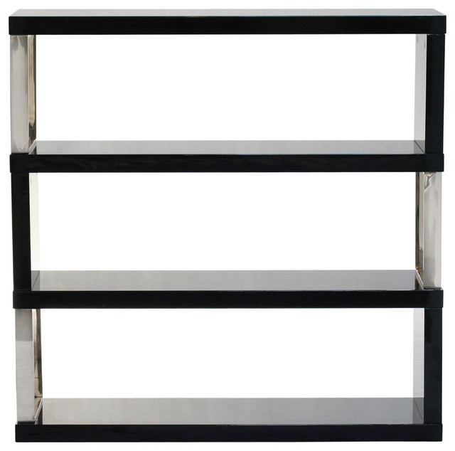 Low Profile Shelf Unit in Black Lacquer - Modern - Display And Wall Shelves
