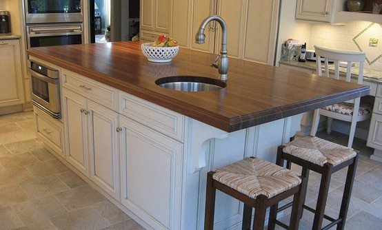 Walnut Kitchen Island Countertop And Bar With Sink